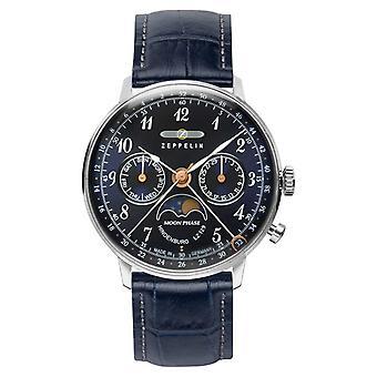 Zeppelin LZ129 Hindenburg Quartz Day/Date Moon Phase Blue Dial 7037-3 Watch