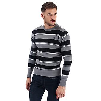 Mens Duck And Cover Linton Stripe Crew Knit In Grey Marl- Ribbed Cuffs, Hem And