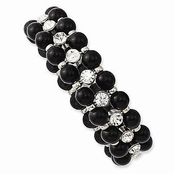 Silver ton svarta pärlor och rensa glas stenar Stretch Armband Smycken Gåvor för kvinnor