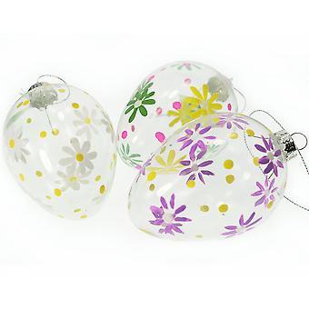 Grande main peint verre boule de fleur pour décoration d'arbre de Pâques