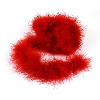 2m Red Marabou Feather Trim for Crafts