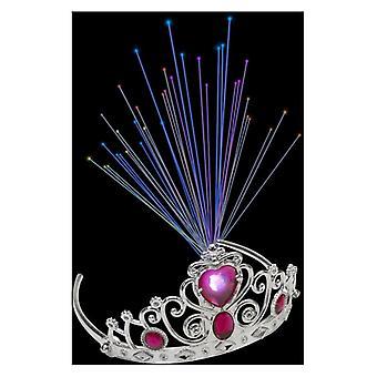 Zapalać się włókna światłowodowe Diadem z różowe klejnoty Fancy Dress akcesorium