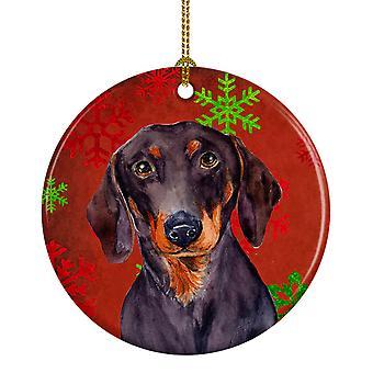 Dachshund copo de nieve rojo vacaciones Navidad adorno cerámica LH9313