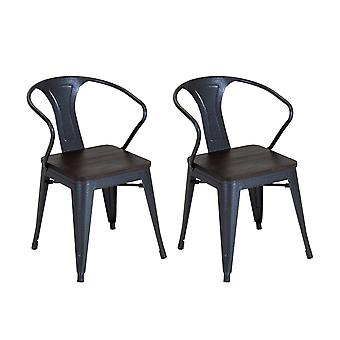 Charles Bentley Salvage 2x Stackable Steel Arm Chairs Outdoor Garden with Elm Wood Seat Top Gunmetal Grey