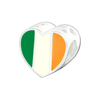 Irish Flag - 925 Sterling Silver Plain Beads - W22910x