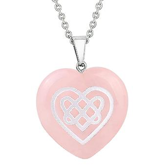 Amulet Keltische Shiled knoop hart bevoegdheden bescherming energie Rozenkwarts gezwollen hart hanger ketting