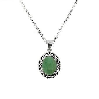 Keltische eeuwigheid knotwork ketting hanger-Jade Stone-omvatten een 20