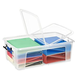 Strata Pack Of 4 - 50 Litre Smart Storemaster Clear Plastic Storage Boxes And Folding Lids