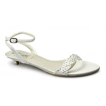 Shuperb Rosalie Dames Satin Diamante Low Heel Strappy Chaussures Ivoire