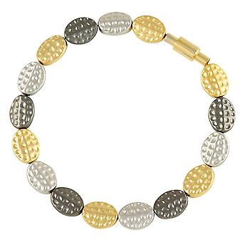 Eternal Collection Textures Tri Colour Stainless Steel Bracelet