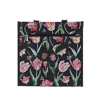Marrel tulp zwart herbruikbare shopper bag door signare tapijten/Shop-jmtbk