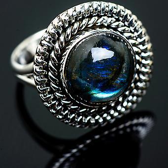 Labradorite Ring Size 7.25 (925 Sterling Silver)  - Handmade Boho Vintage Jewelry RING990497
