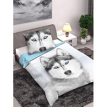 Husky Dog Single Cotton Påslakan och Örngott Set - Europeisk storlek