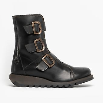 Fly London Scop110fly Ladies Leather Wedge Ankle Boots Black