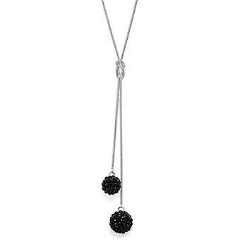 Jet svart Crystal Mesh Ball anheng halskjede PMB112.6