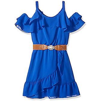 Amy Byer Girls' Big Cold-Shoulder Ruffle Front Dress, neon, Neon Cobalt, Size 16