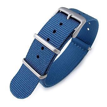 Strapcode n.a.t.o watch strap 20mm g10 military watch band nylon strap, blue, sandblasted, 260mm