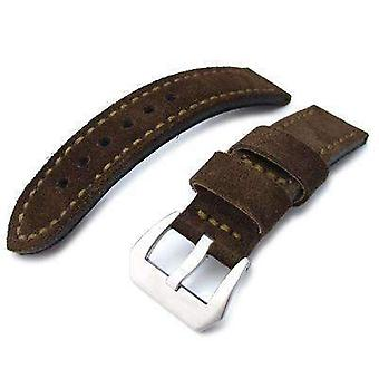 Strapcode leather watch strap 22mm miltat dark brown nubuck leather watch band, olive green stitching xl