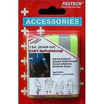 FASTECH® 788-777KC Haak-en-lus tape met reflector, naaihaak en luspad (L x W) 400 mm x 30 mm Neon geel 2 pc(s)