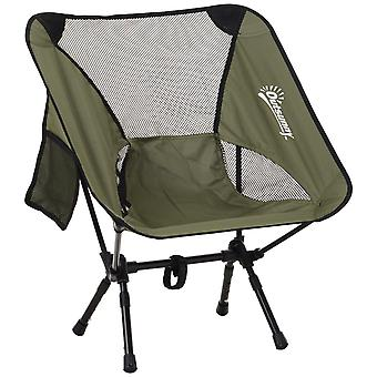Outsunny Oversized Folding Camping Chair Aluminum Frame Mesh Back Portable Seat Fishing Festivals Sports Games Easy Set Up Weather-Resistant Green