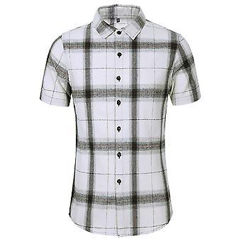 Allthemen Men ' s kockované tlačené tričká ležérne kontrolované topy