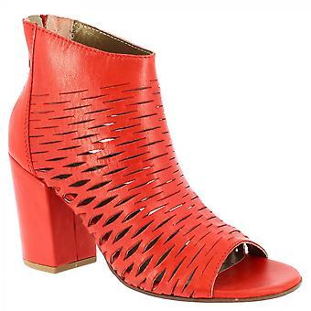 Leonardo Shoes Women's ręcznie otwarte buty na obcasie na obcasie czerwone ażurowe napa