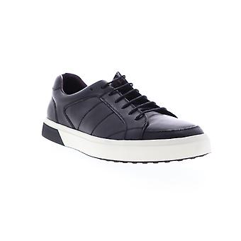 Zanzara Kurt  Mens Black Leather Lace Up Low Top Sneakers Shoes