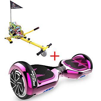 MM6 Hoverboard Self Balanced Electric Scooter LED med kart-krom rose