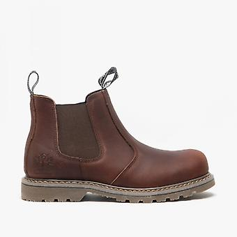 Woodland Gabe mens Leather Twin Gusset Chelsea Boots donker bruin