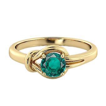 Smaragd 0,50 CT Ring 14K Gelb Gold Knoten 4 Zinken Runde