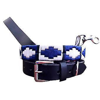 Carlos diaz genuine leather  polo dog collar and lead set cdhkplc134