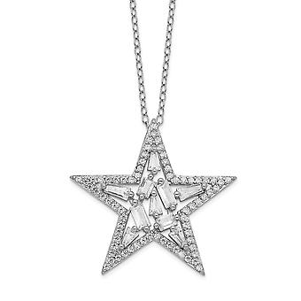 27.21mm Cheryl M 925 Sterling Silver CZ Cubic Zirconia Simulated Diamond Star Necklace 18 Inch Jewelry Gifts for Women