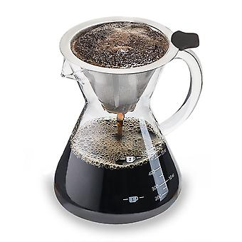 Coffee Maker Pour Over (Medium Standard) - Coffee Pot with Permanent Filter Made of Stainless Steel - Dripper for Brewing Coffee