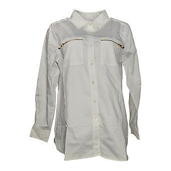 Belle by Kim Gravel Women's Top Girlfriend Shirt w/ Pockets White A296109