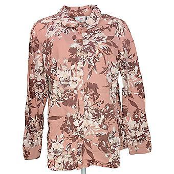 Denim & Co. Women's Top Button Front Bloemen gedrukt Stretch Pink A288181