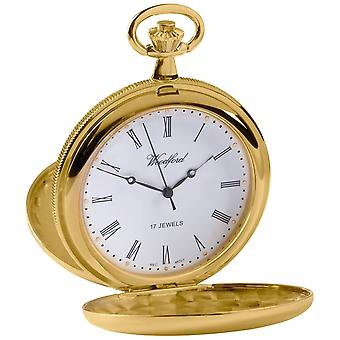 Woodford Double Full Hunter Skeleton Gold Plated Pocket Watch - Gold