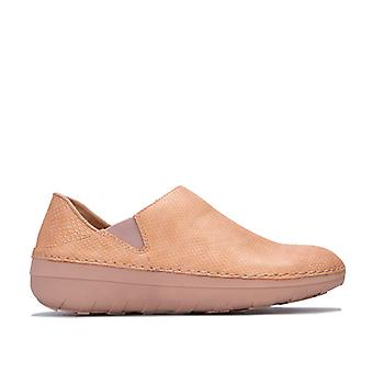 Women's Fit Flop Superloafer Shimmersnake Shoes in Cream