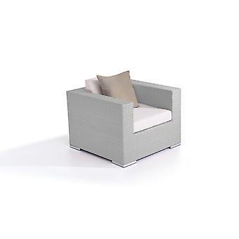 Polyrattan Cube Kreslo - šedý satén