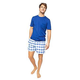 Cyberjammies Dylan 6507 Män & apos; s Blue Mix Check Pyjama Kort