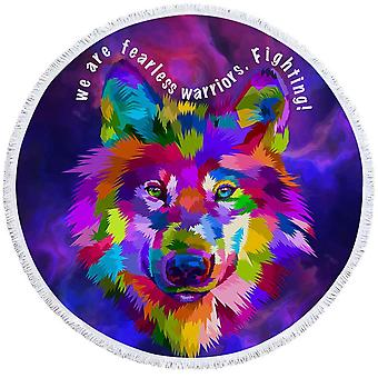Colorful Warrior Wolf Beach Towel