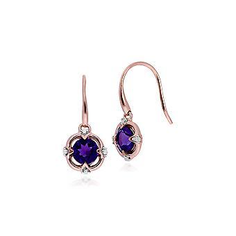 Classic Round Ametisti & Diamond Quarterfoil Drop korvakorut 9ct Rose Gold 135E1433019