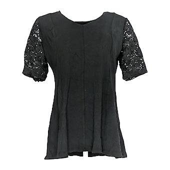 Denim & Co. Women's Top Fit & Flare Stretch Lace Elbow Black A290115
