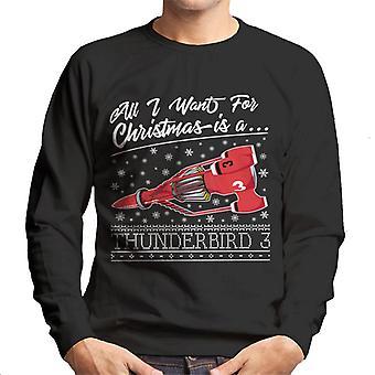 Thunderbirds Kaikki haluan jouluksi on Thunderbird 3 Miehet&s Collegepaita