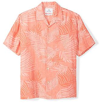 28 Palms Men's Relaxed-Fit Silk/Linnen Tropical Leaves Jacquard Shirt, Coral, ...