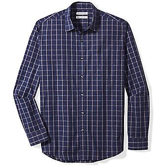 Essentials Men's Regular-Fit Camisa Casual Poplin de Manga Longa, vitória marinha...