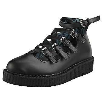 T.U.K Pointed Creeper Multi Strap Womens Creeper Shoes in Black