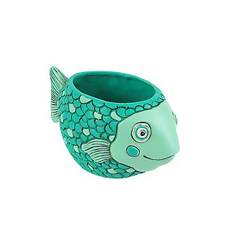 Allen progetta Whimsical Teal Blue Baby Fish Mini Planter per piante grasse ed erbe
