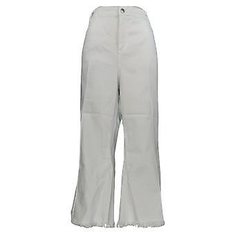 Frauen mit Kontrolle Frauen's Jeans Plus mein Wonder ausgefranst Crop weiß A350921