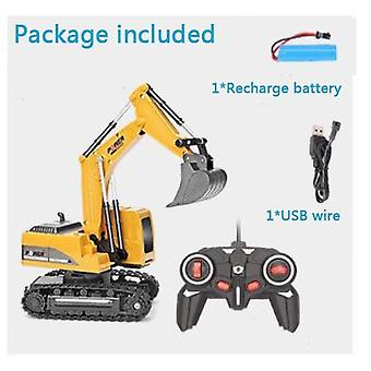 2.4ghz 6 Channel 1:24 Rc Excavator Toy - Rc Engineering Car  Alloy And Plastic Excavator For Kids