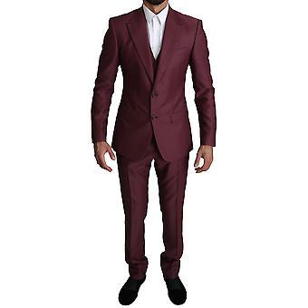 Dolce & Gabbana Maroon Wool Maroon Single Breasted 3 Piece -- KOS1454192